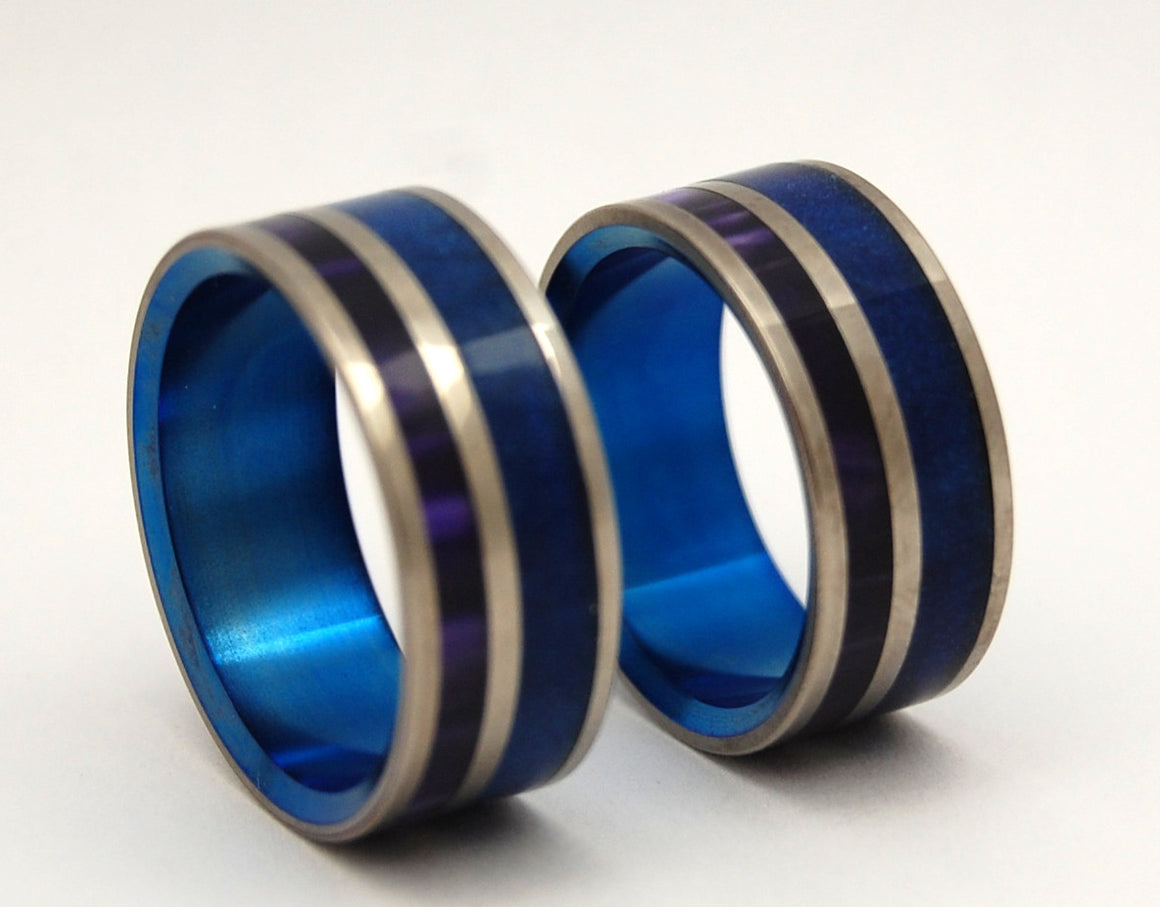 BEHIND THE FALLS | Blue & Purple Resin - Matching Titanium Wedding Rings Set - Minter and Richter Designs