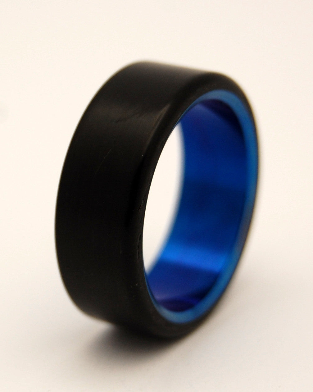 OTHELLO | Black Resin Blue Titanium Men's Wedding Rings - Minter and Richter Designs