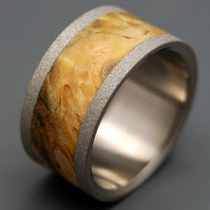 BLOND BLASTED | California Buckeye Wood & Titanium - Unique Wedding Rings - Wooden Wedding Rings - Minter and Richter Designs