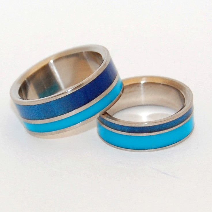 BLUE LAGOON | Blue Resin & Titanium - Unique Wedding Rings - Resin Wedding Rings - Minter and Richter Designs