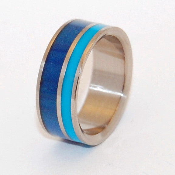 BLUE LAGOON | Blue Aqua Resin & Titanium - Unique Wedding Rings - Resin Wedding Rings - Minter and Richter Designs