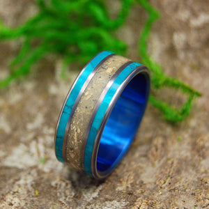 BLUE SEA OF GALILEE | Chrysocolla & Beach Sand Unique Wedding Rings for Men - Minter and Richter Designs