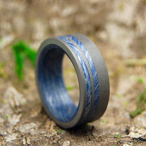 SON OF ADAM | Blue Silver Mokume Gane M3 Titanium Wedding Rings - Minter and Richter Designs