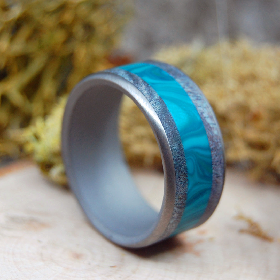 WE ARE AS SWIMMERS | Blue Maple Wood & Chrysocolla Stone - Titanium & Wood Mens Wedding Rings - Minter and Richter Designs
