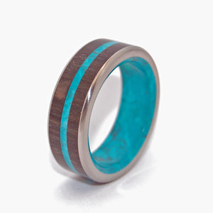 BOG KING | Bog Oak & Chrysocolla Stone Titanium Men's Rings - Minter and Richter Designs