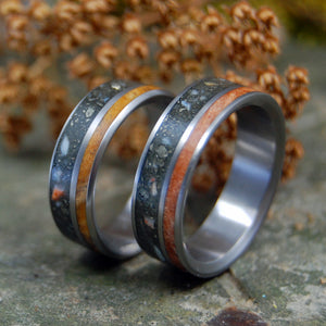 MINER SET | Fool's Gold, Deer Antler & Sugar Maple Wood Wedding Rings Set - Minter and Richter Designs