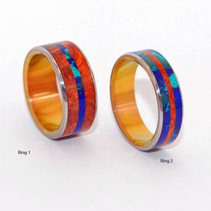 BRIDGE BETWEEN AMBOYNA SEA | Amboyna Burl Wood & Azurite Malachite Stone - Unique Wedding Rings set - Minter and Richter Designs