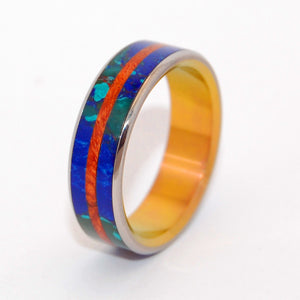 BRIDGE BETWEEN OCEANS | Amboyna Burl Wood & Azurite Malachite Stone - Unique Wedding Rings - Minter and Richter Designs