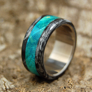 Men's Wedding Rings - Titanium Wooden Wedding Rings | BRIGHT GREEK GOD - NO INTERIOR OVERLAY