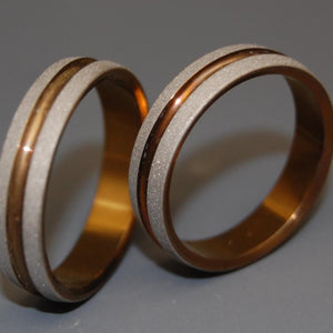 BOLD AS LOVE BRONZE | Bronze Titanium - Unique Wedding Rings - Wedding Rings Set - Minter and Richter Designs