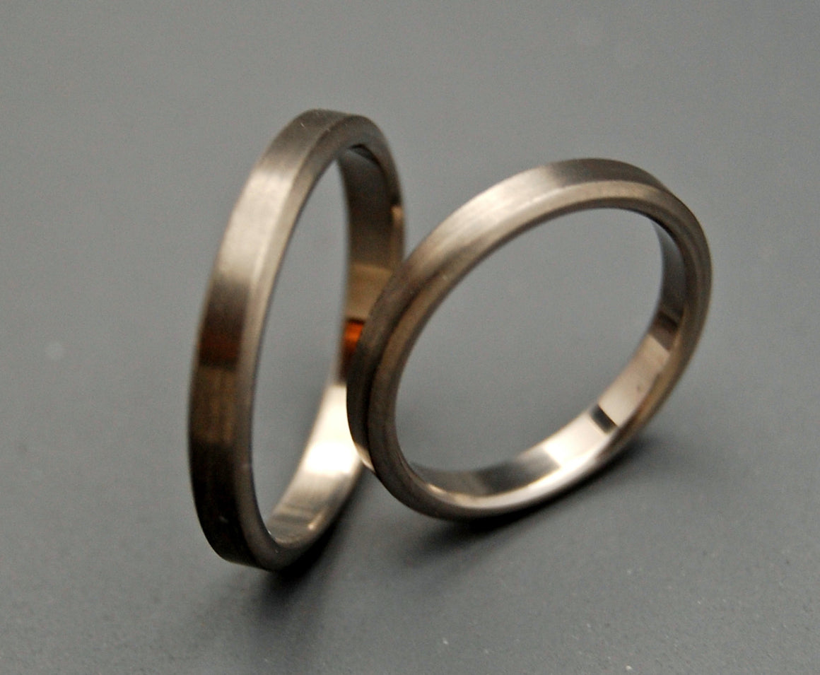 BRUSHED SLEEK SLIM | Titanium Wedding Rings Set - Minter and Richter Designs