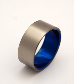 BRUSHED AND BLUE | Blue Titanium - Unique Wedding Rings - Blue Wedding Rings - Minter and Richter Designs