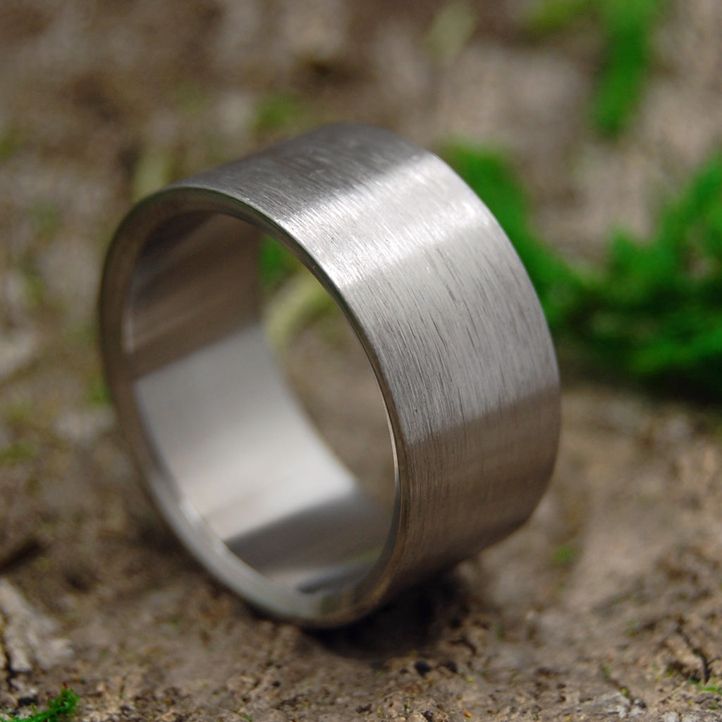 Mens Ring | Hand Crafted Titanium Wedding Ring | BRUSHED AND NAKED