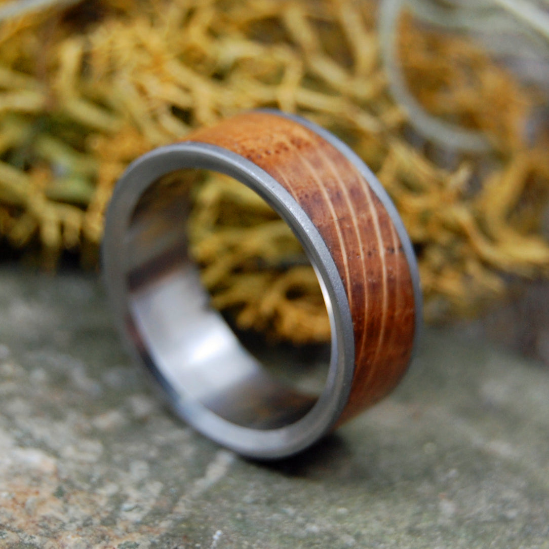 BULLY BOY BLASTED | Whiskey Barrel Wood Titanium Wedding Rings - Men's Wedding Rings - Minter and Richter Designs