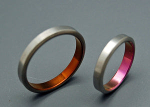 CINNAMON & SPICE | Bronze & Pink Anodized Titanium Wedding Rings - His & Hers Wedding Band Set - Minter and Richter Designs