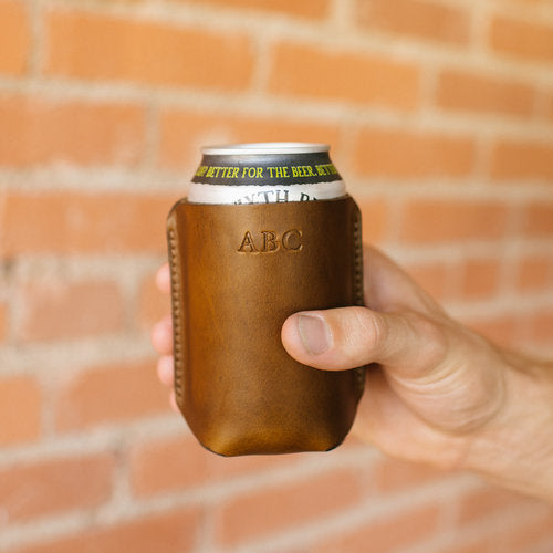 Natural Leather Koozie - Free Engraving! - Minter and Richter Designs