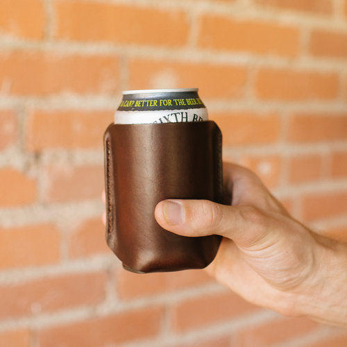 Dark Walnut Leather Koozie - Free Engraving!