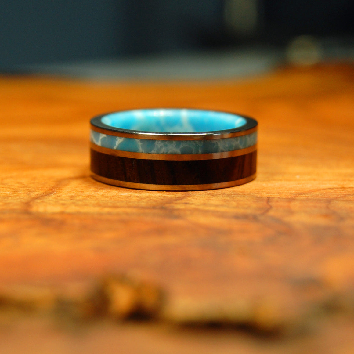 DOMINICAN CANOPY | Larimar Stone Handcrafted Wood & Titanium Wedding Rings - Minter and Richter Designs