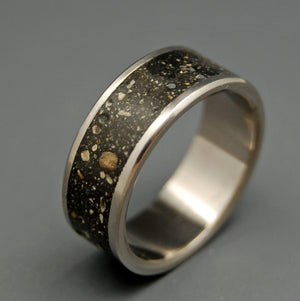 ODE TO ICELAND | Icelandic Beach Sand & Lava - Black Titanium Wedding Rings - Minter and Richter Designs