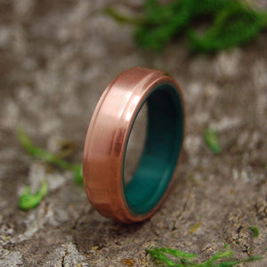COPPER MOXIE | Copper and Jade Mens Wedding Rings - Minter and Richter Designs