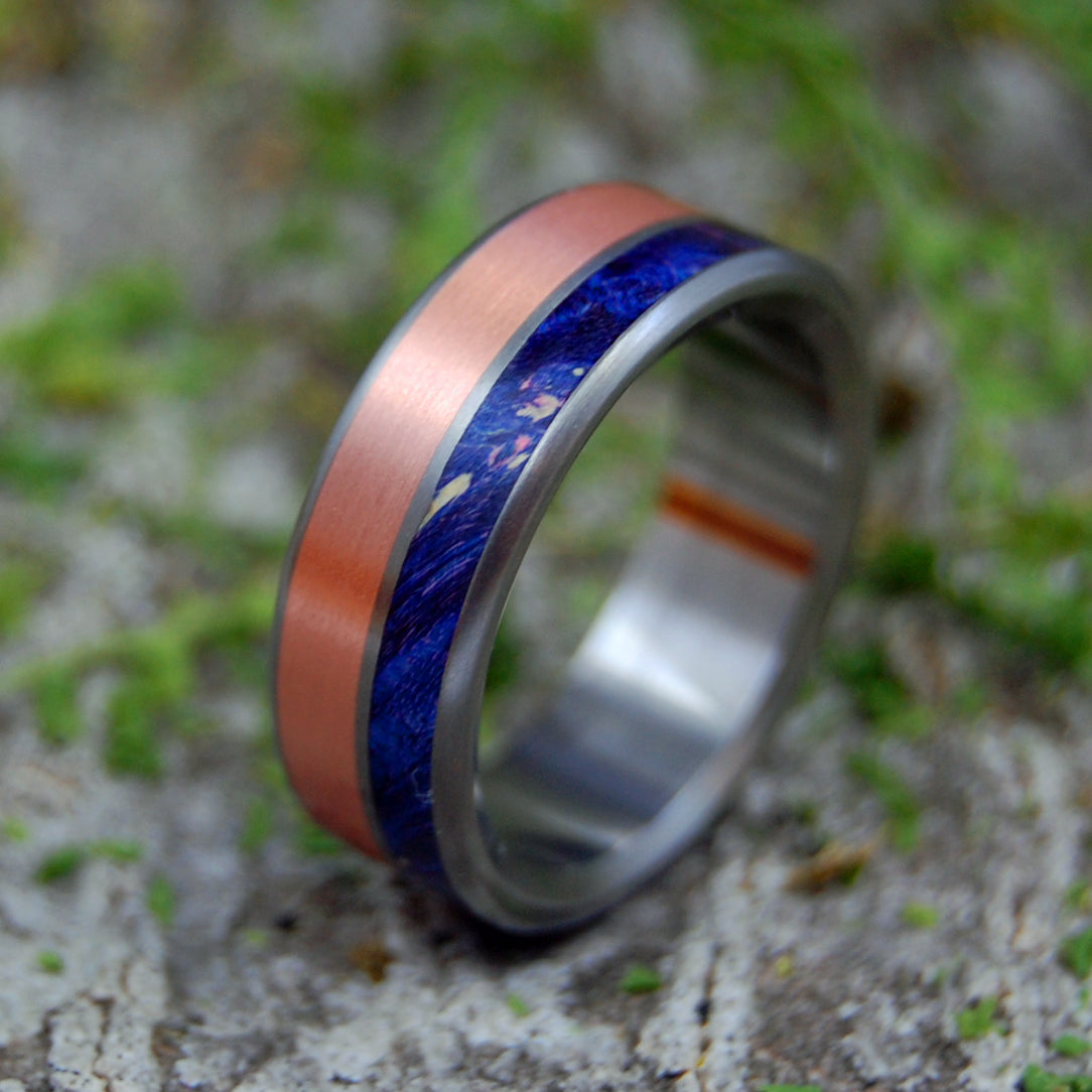 Copper and Wood Wedding Ring - Mens Titanium Ring | COPPER SHORE
