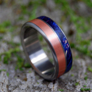 COPPER SHORE | Copper & Blue Box Elder Wood Titanium Wedding Rings - Minter and Richter Designs
