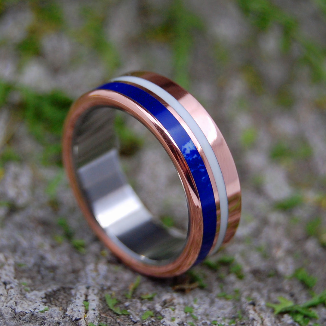 PERUVIAN KNIGHT | Copper, Blue Stone & Titanium Custom Wedding Rings - Minter and Richter Designs
