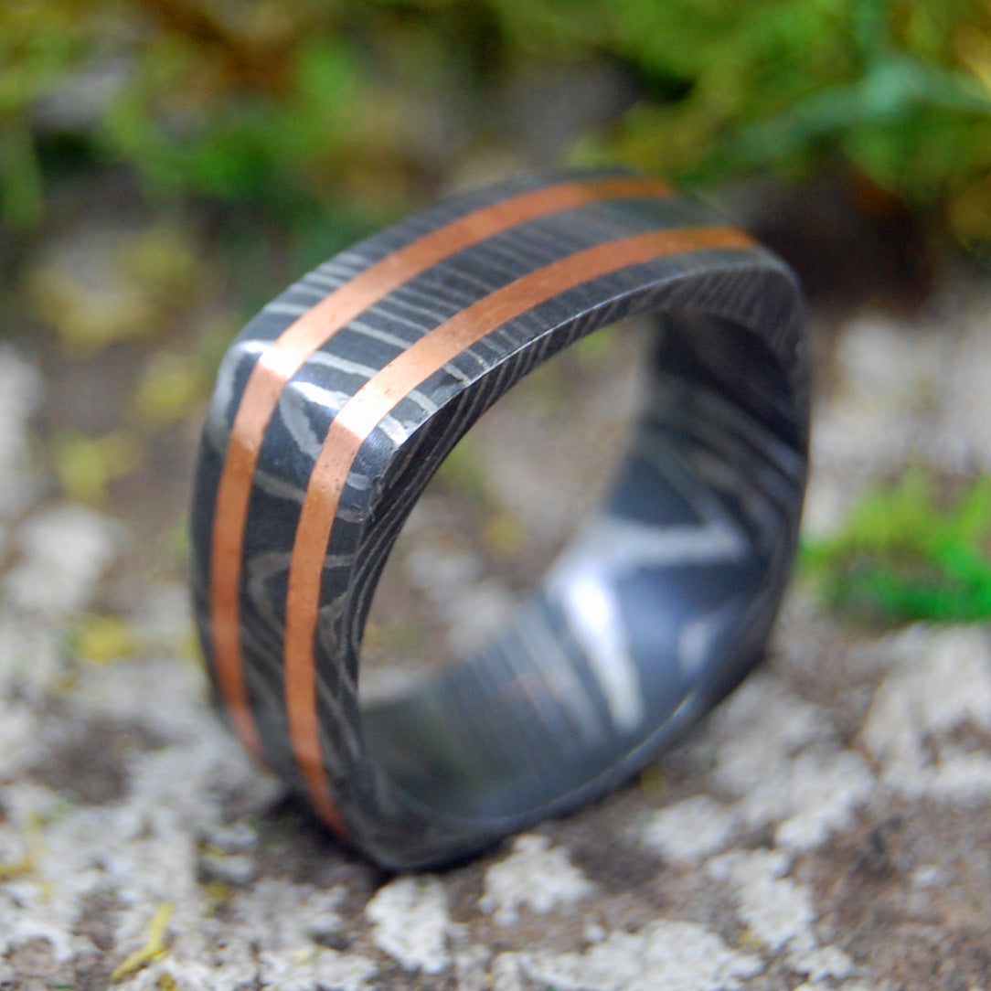 COPPER VICTORY | Damascus Damasteel Copper Wedding Rings - Minter and Richter Designs