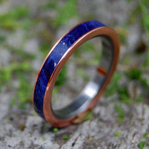 COPPER SEA |  Blue Box Elder Wood & Copper Titanium Women's Wedding Rings - Minter and Richter Designs