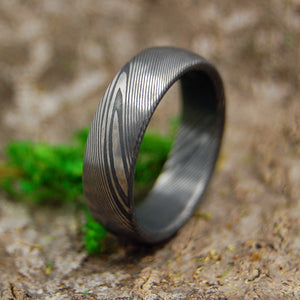 DOMED EVEREST | Damasteel Damascus Steel Domed Wedding Rings - Minter and Richter Designs