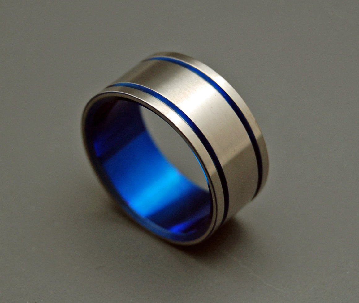 ALMA MATER | Blue Titanium Men's Wedding Rings - Minter and Richter Designs