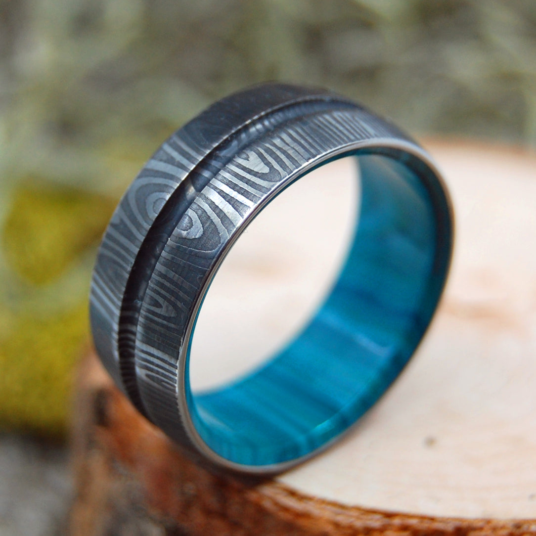 THE KNIGHT ARRIVES | Damascus & Chrysocolla Stone - Damasteel & Stone Wedding Rings - Minter and Richter Designs
