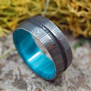 THE KNIGHT ARRIVES | Damascus - Damasteel & Stone Wedding Rings - Minter and Richter Designs