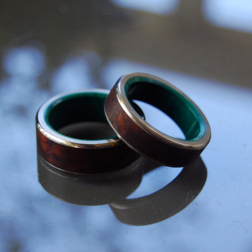 NO LITTLE LOVE | Desert Ironwood & Jade Stone Wedding Rings Unique Wedding Rings set - Minter and Richter Designs