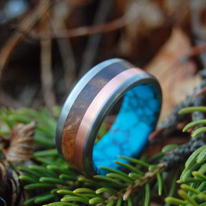 THE MOTIVE OF A VIKING | Copper, Turquoise & Desert Ironwood Titanium Men's Wedding Rings - Minter and Richter Designs