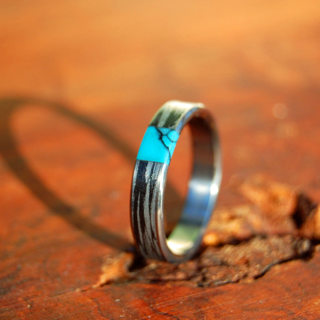 DESIRE'S WHIRLWIND | Turquoise Stone & M3 - Unique Wedding Rings - Women's Wedding Rings - Minter and Richter Designs
