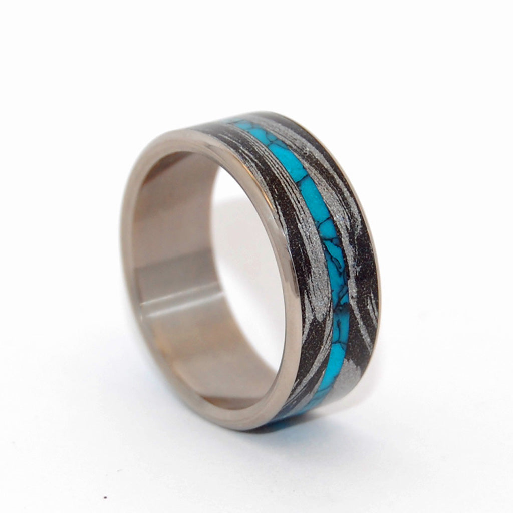 Mens Wedding Ring - Black Wedding Ring - Turquoise Wedding Ring | DESIROUS