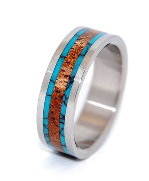 Dock | Turquoise and Wood Titanium Wedding Band - Minter and Richter Designs