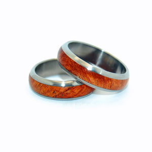 EVERY DROP AMBOYNA | Amboyna Wood & Titanium - Unique Wedding Rings - Wedding Rings Set - Minter and Richter Designs