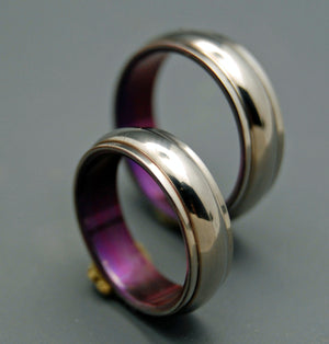 LOVE'S GIFT | Purple Titanium Wedding Rings - Unique Wedding Rings Sets - Minter and Richter Designs