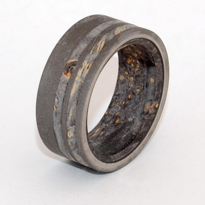 onyx this beautifully crafted titanium wedding band has an offset double inlay of black - Onyx Wedding Ring