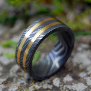 Damascus Wedding Rings - Womens Rings - Mens Rings | DOUBLE BRONZE DAMASCUS