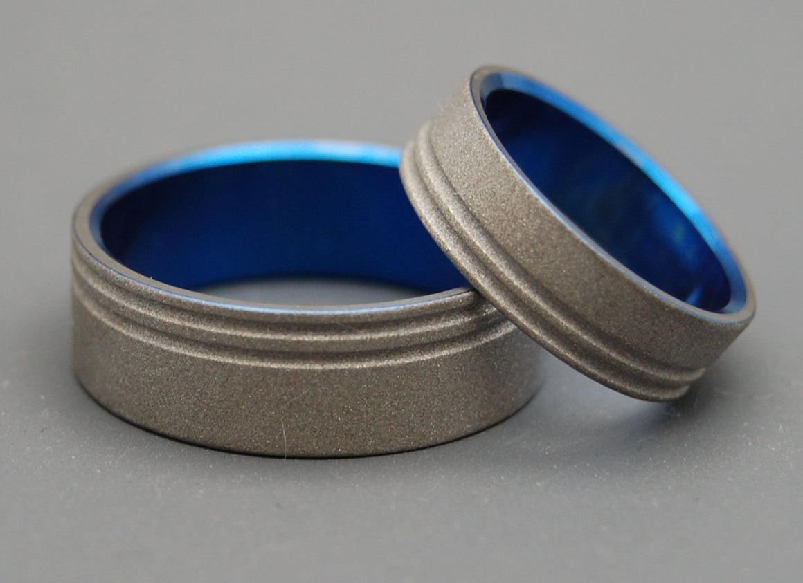 TO THE FUTURE BLUE | Sandblasted Titanium Rings - Unique Men's Wedding Rings Set - Minter and Richter Designs