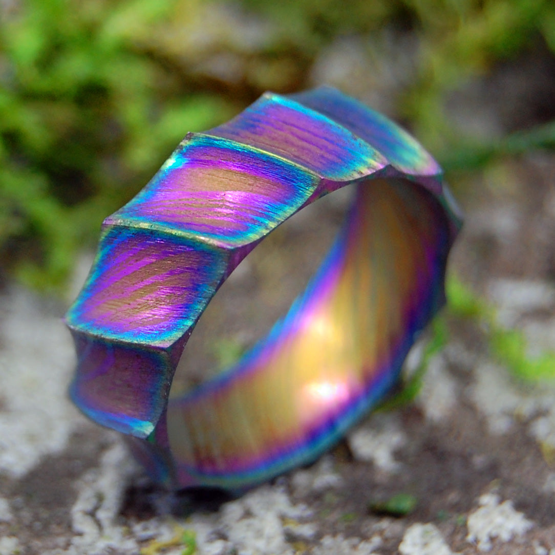 DRAGON | Carbon Damascus Steel Rainbow Women's Wedding Rings - Minter and Richter Designs