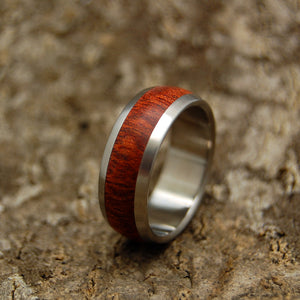 EVERY DROP OF BLOOD | Bloodwood & Titanium Domed Men's Wedding Rings - Minter and Richter Designs