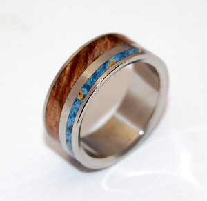 EARTH BY WATER | Maple Wood & Blue Wood Wedding Rings - Unique Wedding Rings - Minter and Richter Designs
