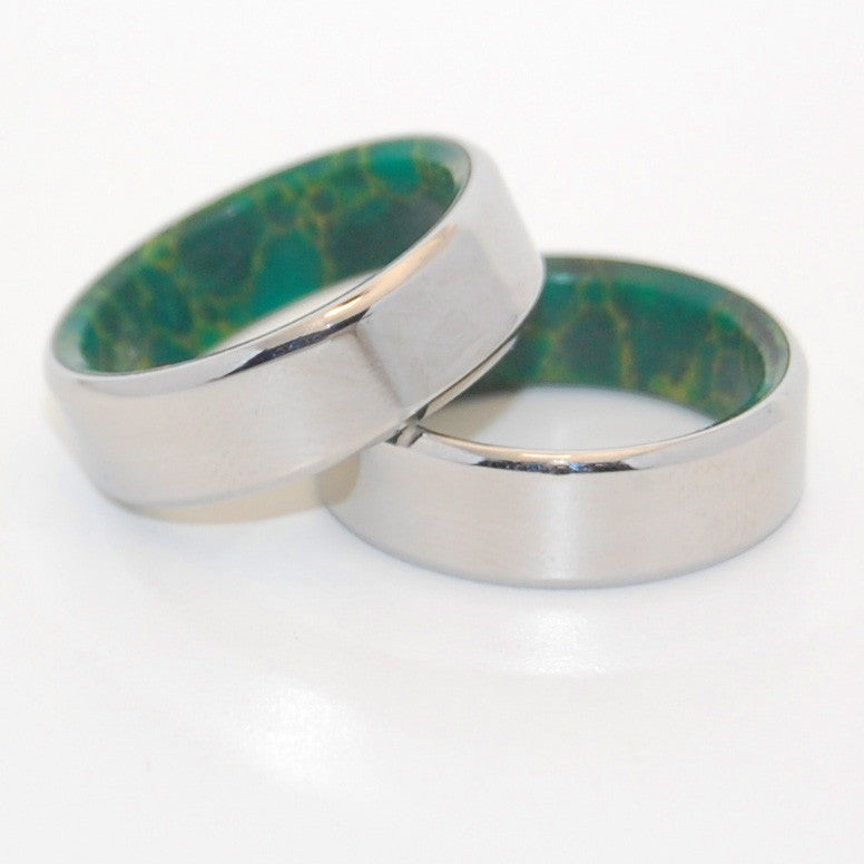 FOREVER BY MY SIDE | Jade Stone & Titanium Wedding Rings Set - Minter and Richter Designs