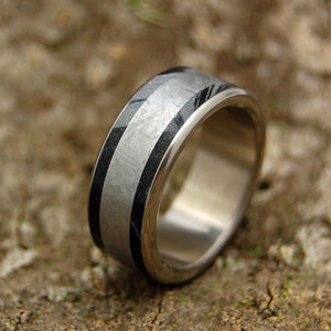 EVERY KNEE SHALL BOW | Meteorite & Black M3 Titanium Men's Wedding Rings - Minter and Richter Designs
