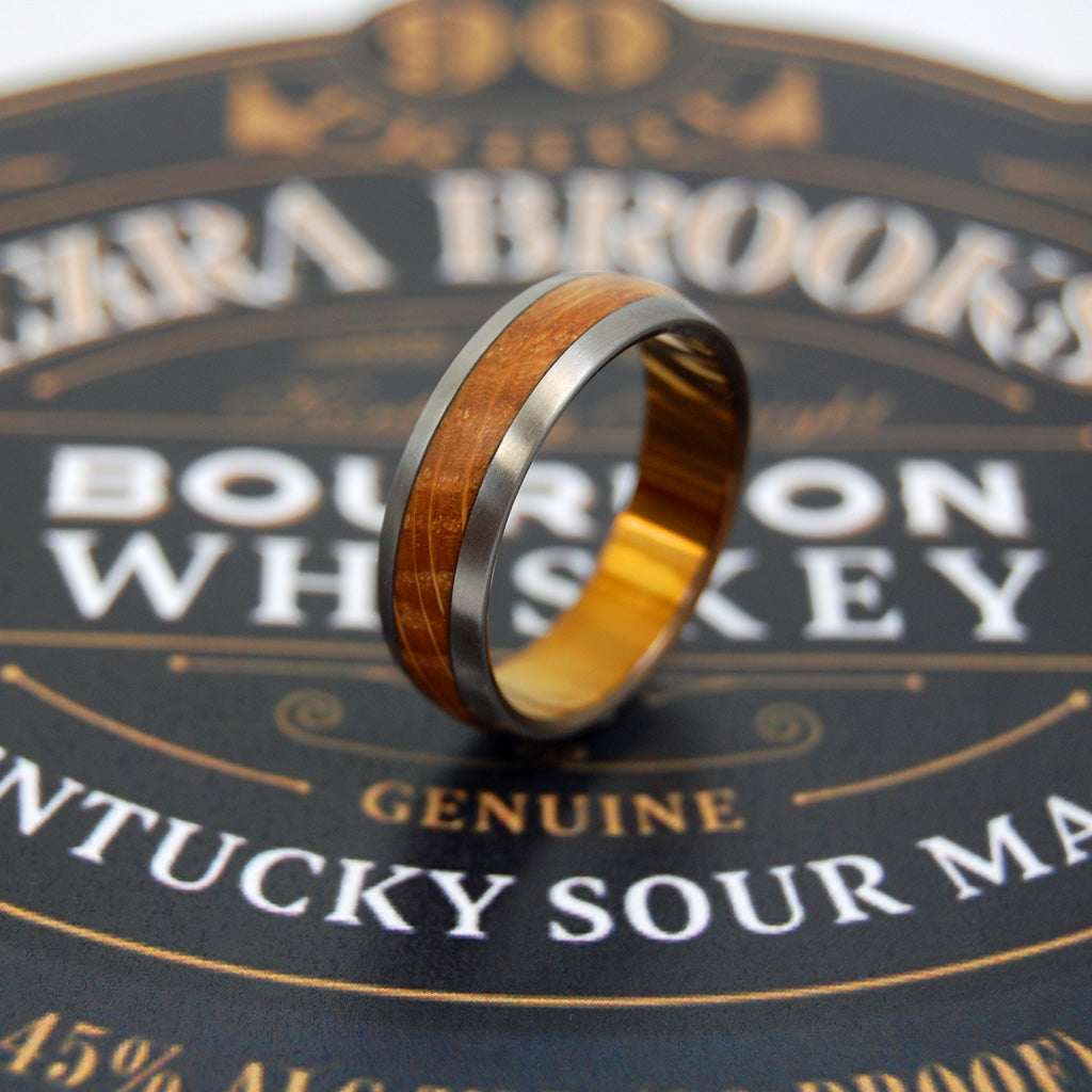 GUNNY |  Whiskey Barrel Wood & Titanium Mens Wedding Ring - Minter and Richter Designs