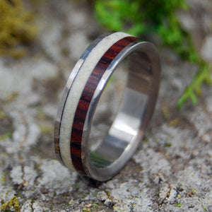 Faith | SIZE 6.5 AT 4.8MM | Cocobolo Wood & Beach Sand | Unique Wedding Rings | On Sale - Minter and Richter Designs